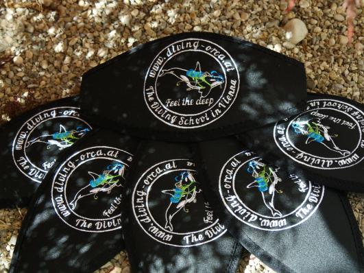 Maskenband, Maskenbänder, individuelle Maskenbänder, Geschenke für Taucher, Wind-Beutel, Maskenband mit Logo, Maskenband mit Namen